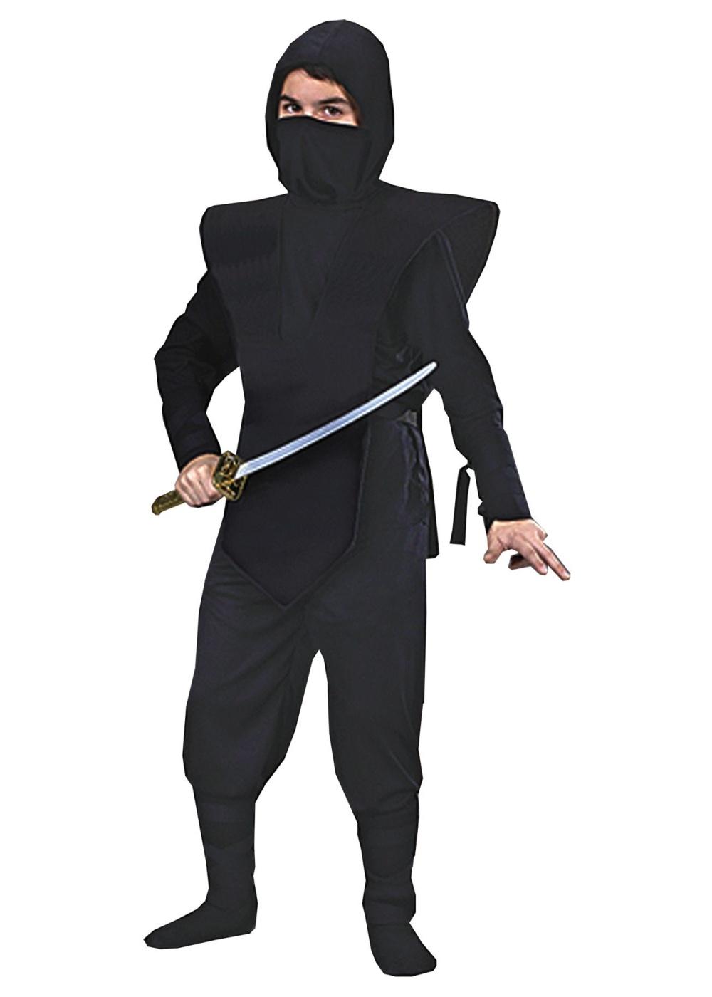 Ninja Complete Child Costume Black Gold Boys Ninja Costumes