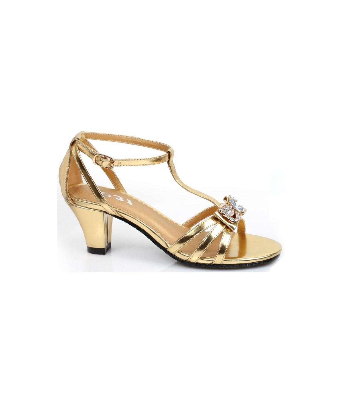 Kids Gold Strappy Heel Girls Shoes