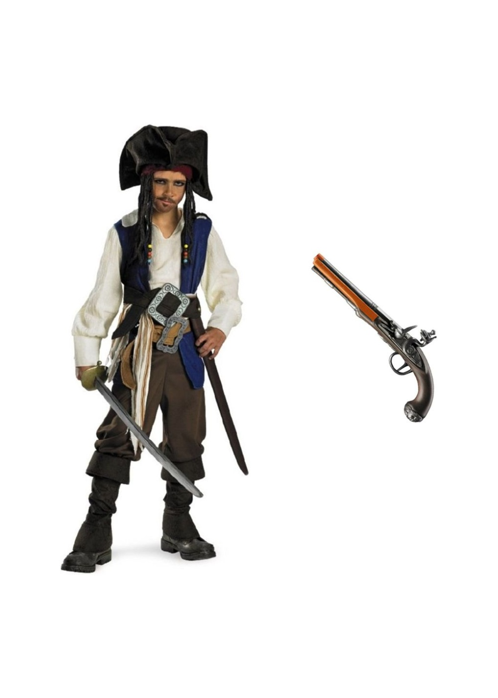 Jack Sparrow Pirate Boys Costume And Toy Set