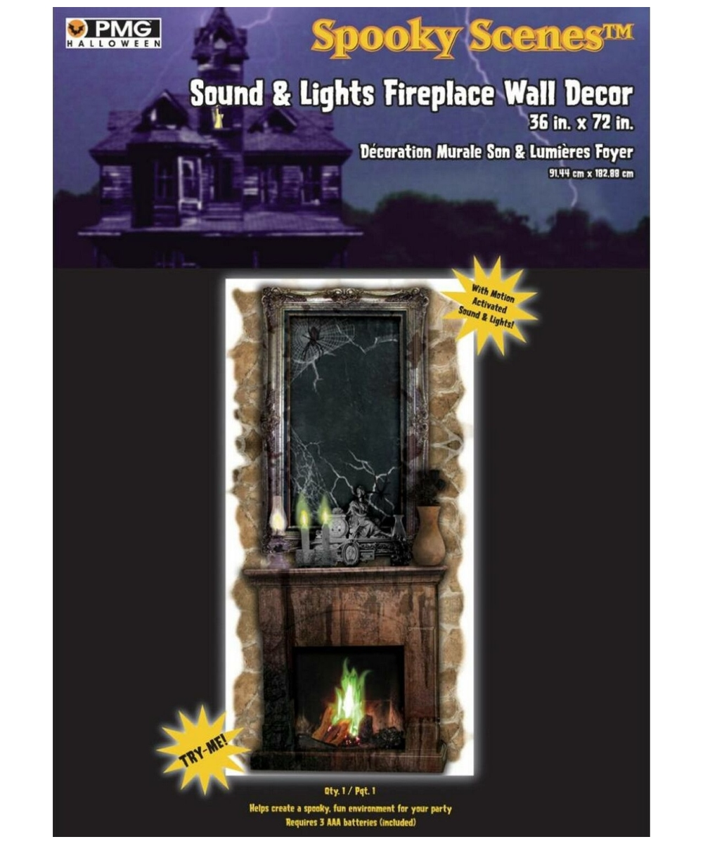 spooky scenes sound and lights fireplace wall decor halloween decoration