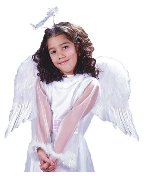 White Angelic Feather Wings Costume