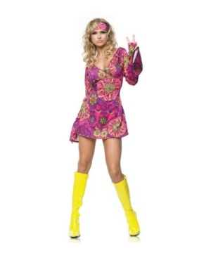 Pink Hippie Dress Womens Costume