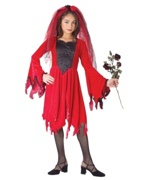 Red Devil Bride Child Costume