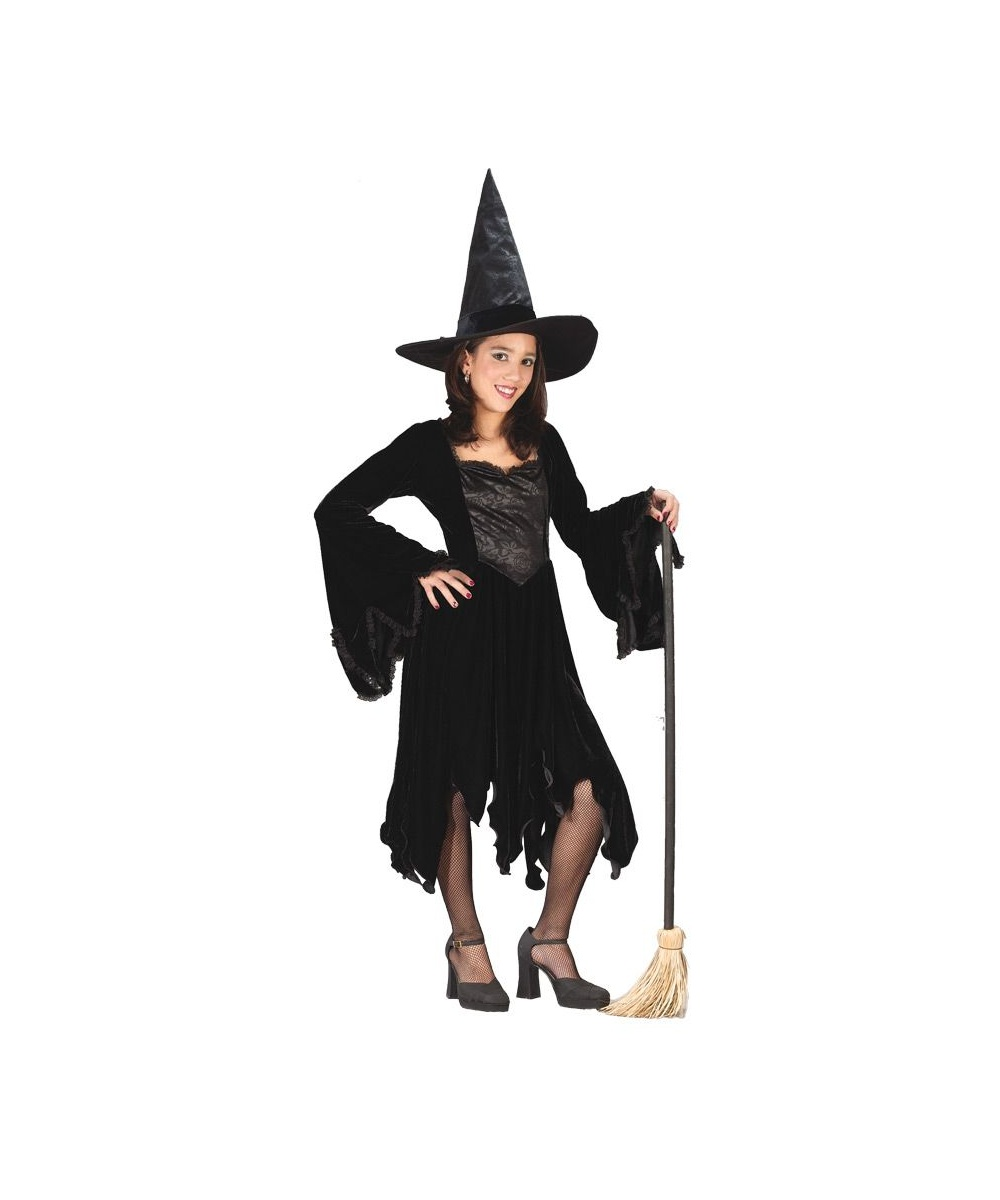 35f0ce8c77d Witch Halloween Kids Costume in Black Velvet - Girls  Costumes