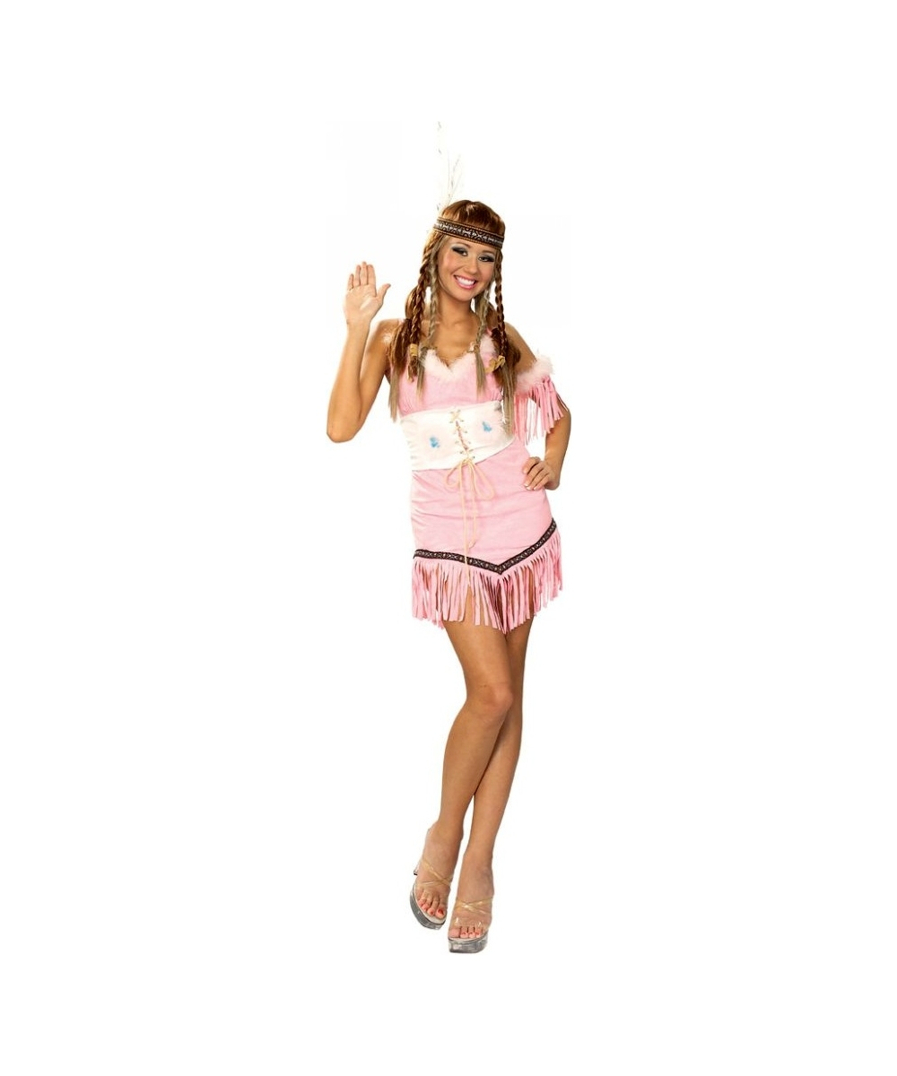 Pink Pocahontas Womens Costume  sc 1 st  Wonder Costumes & Indian Girl Pink Adult Costume - Women Halloween Indian Costumes
