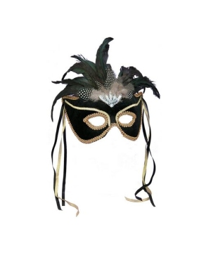 Black Feather Couples Venetian Mask