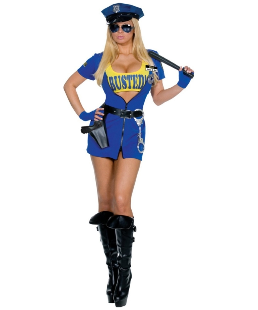 Adult Busted Police Sexy Costume - Women Costumes-7058