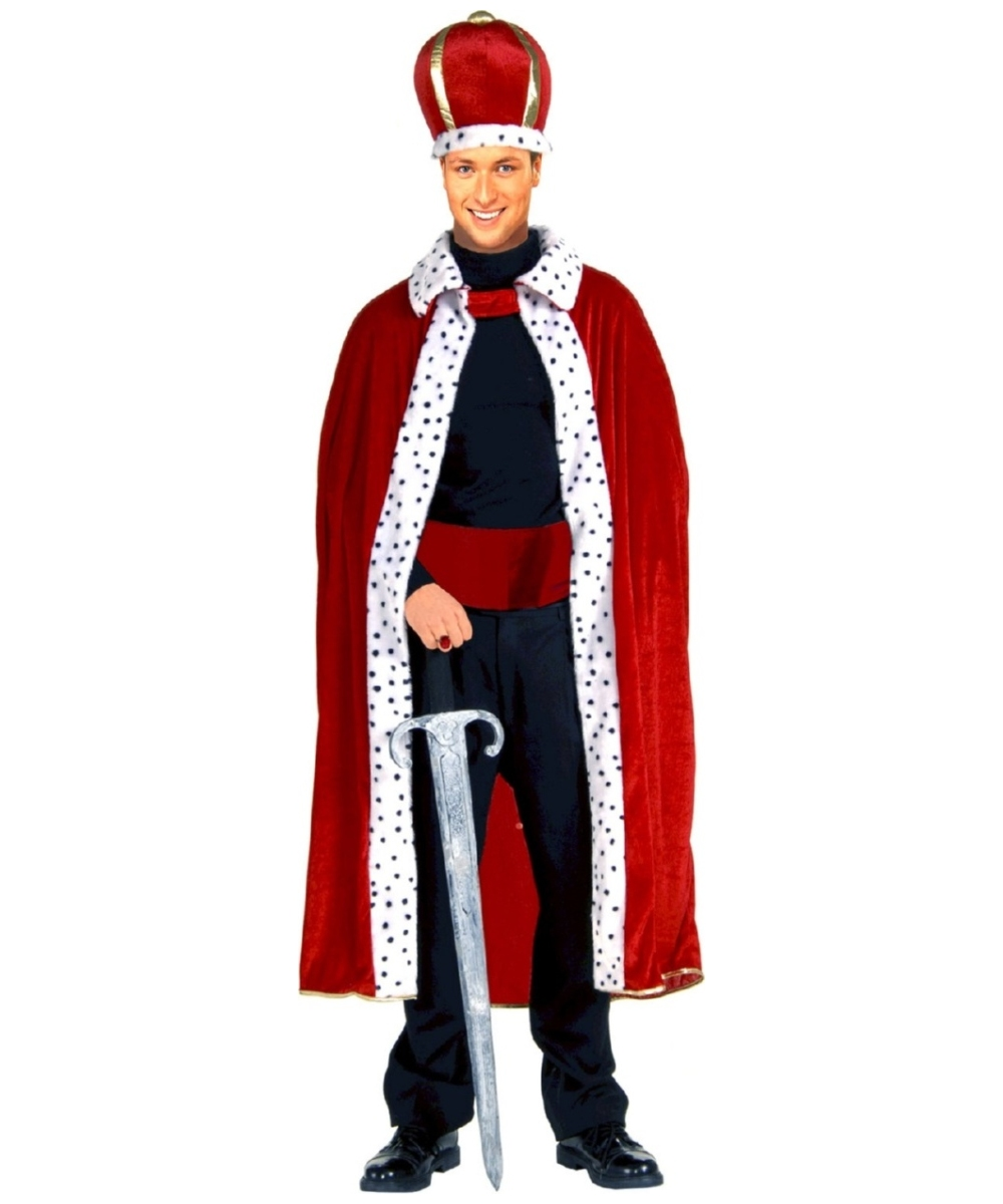adult red king robe and crown set halloween costume king costumes