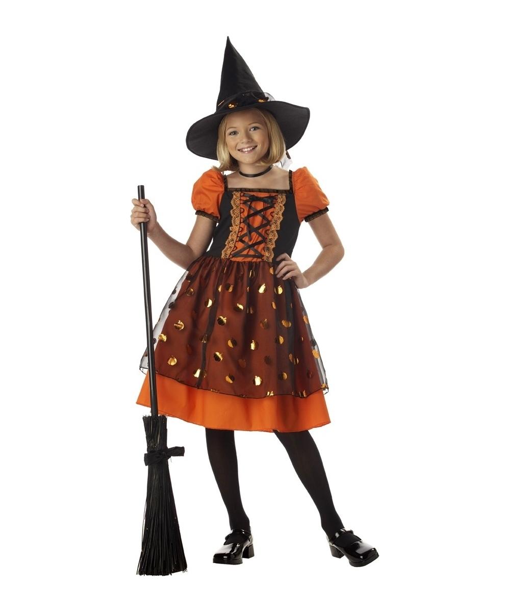 Pretty Pumpkin Witch Kids Halloween Costume