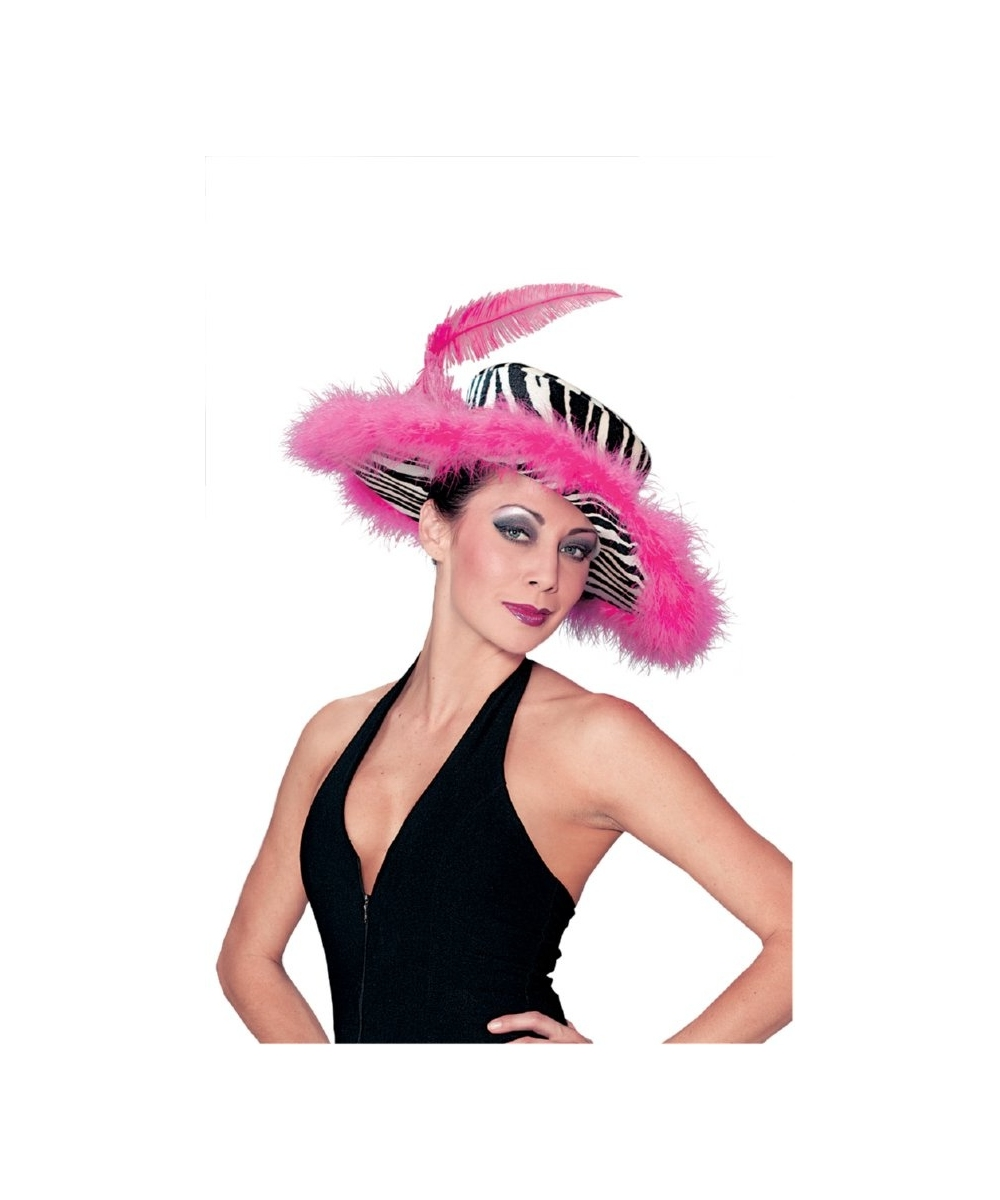 Zebra Pink Hat With Marabou Trim And Pink Feather Funworld