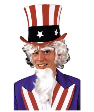 Uncle Sam Adult Goatee Eyebrow and Wig Kit
