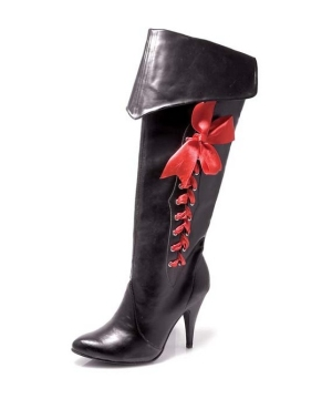 Pirate Boots With Ribbons Woman Costume Accessory