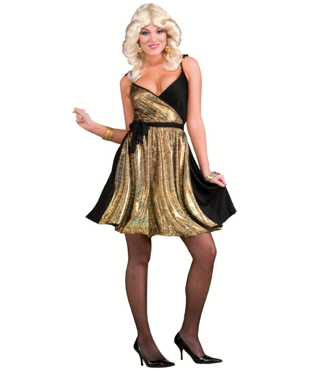 Adult Disco Gold Dress Costume - Women Costume