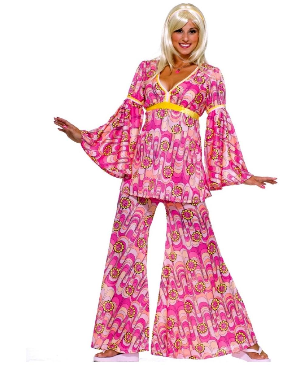 Hippie Flower Power Adult Costume Women Hippie Costumes