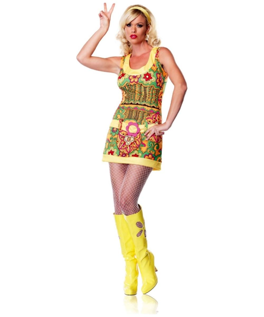 Funky Mod Hippie Women Costume  sc 1 st  Wonder Costumes & Hippie Funky Mod Adult Costume - Women Hippie Costumes