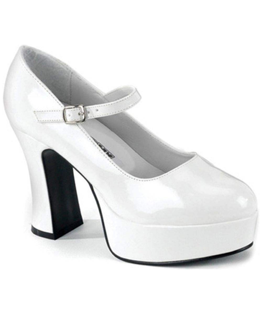 White Mary Jane Platform Shoes