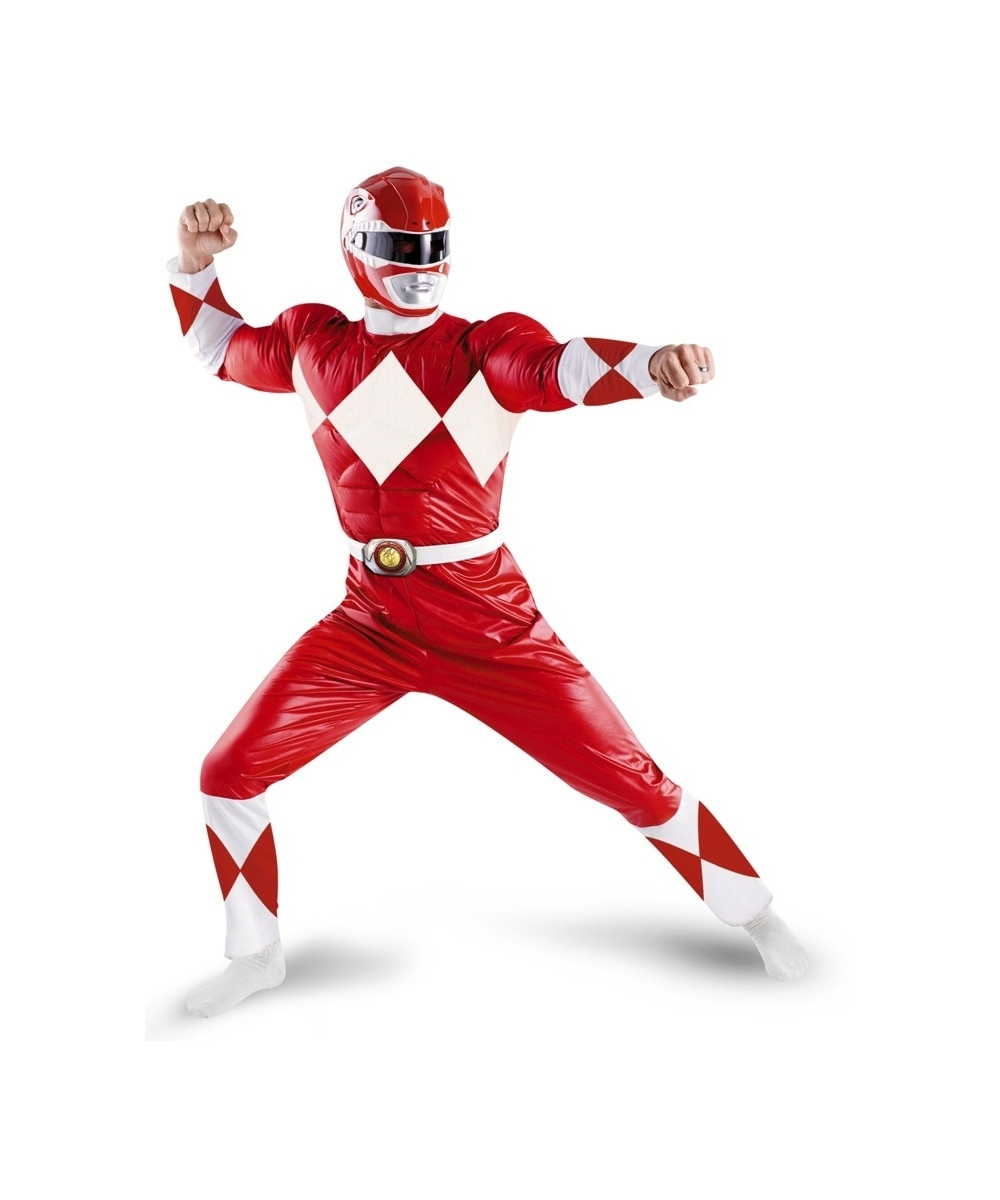 Mens Red Power Ranger Costume