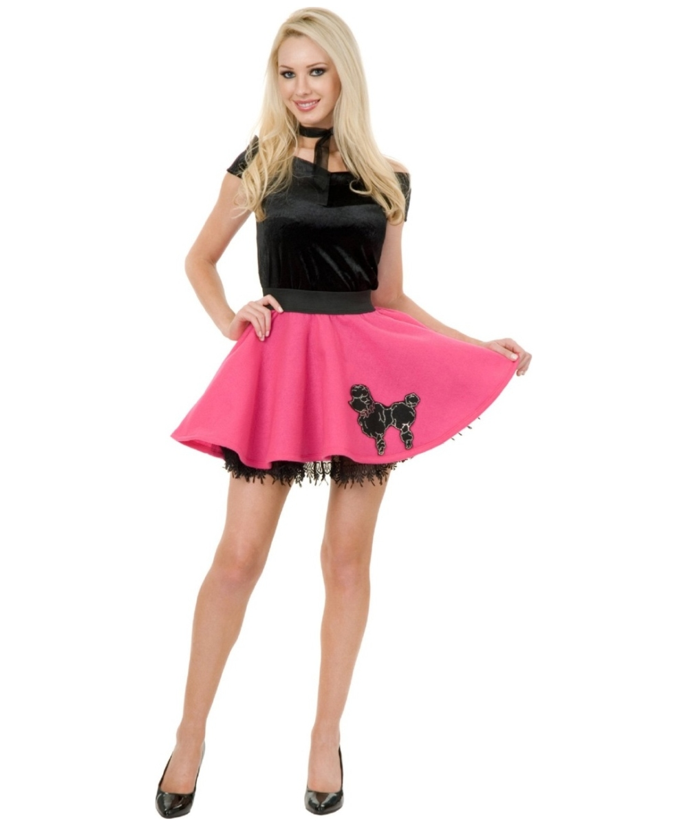 829f96356846 Adult Black/pink Mini Poodle Skirt 50s Costume - Women Costumes