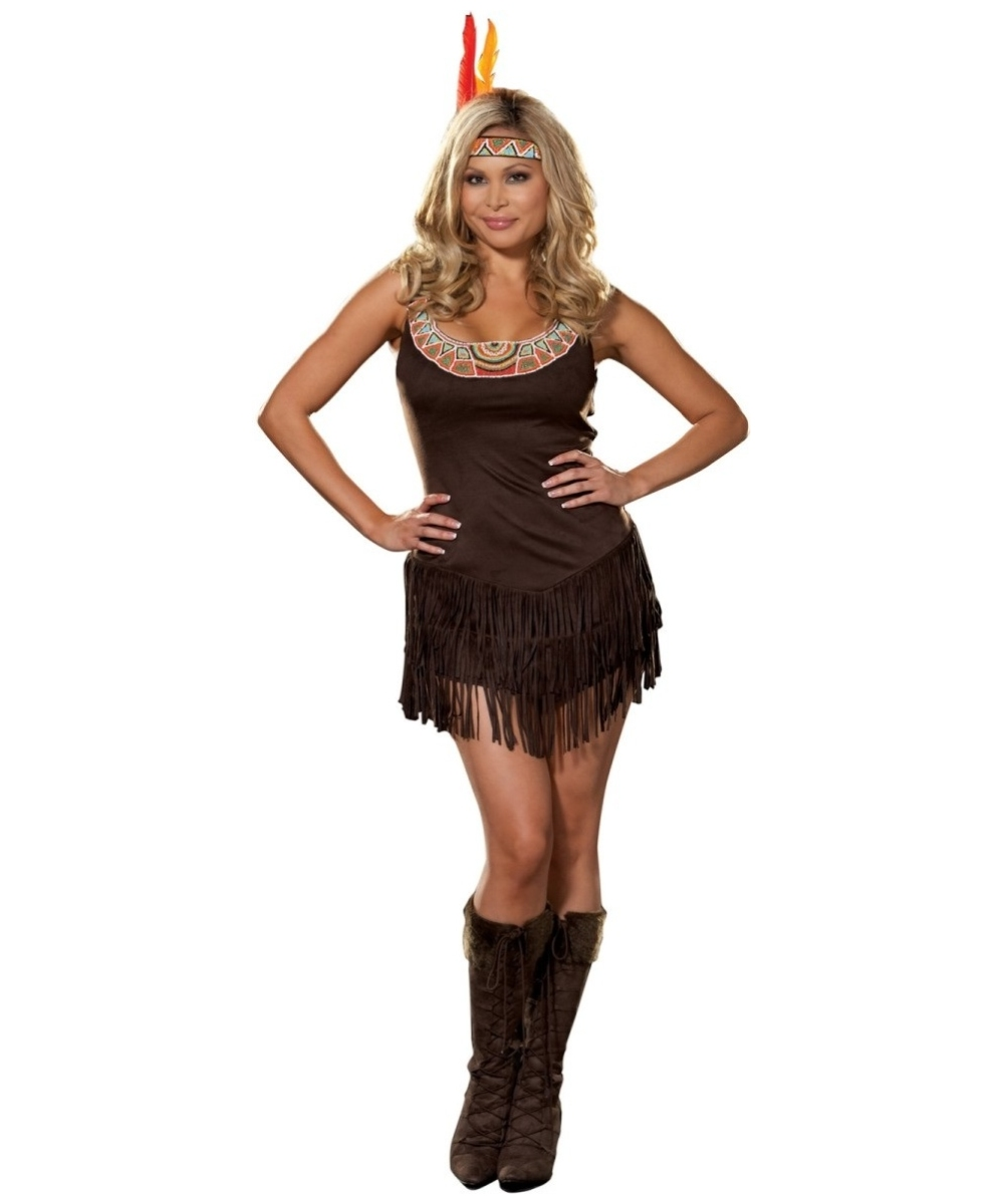 Pocahontas Plus Size Halloween Costume  sc 1 st  Halloween Costumes & Sexy Indian Pocahottie Costume - Plus Size Indian Costume