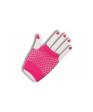 Fingerless Fishnet Gloves - Adult Accessory - Pink