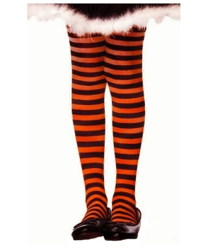 Black/orange Striped Child Tights