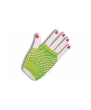 Green Fingerless Fishnet Gloves