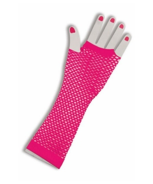 Pink Fingerless Fishnet Adult Gloves