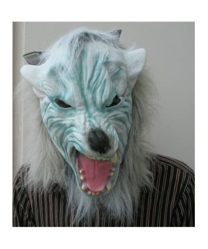 Silver Wolf With Hair Adult Mask