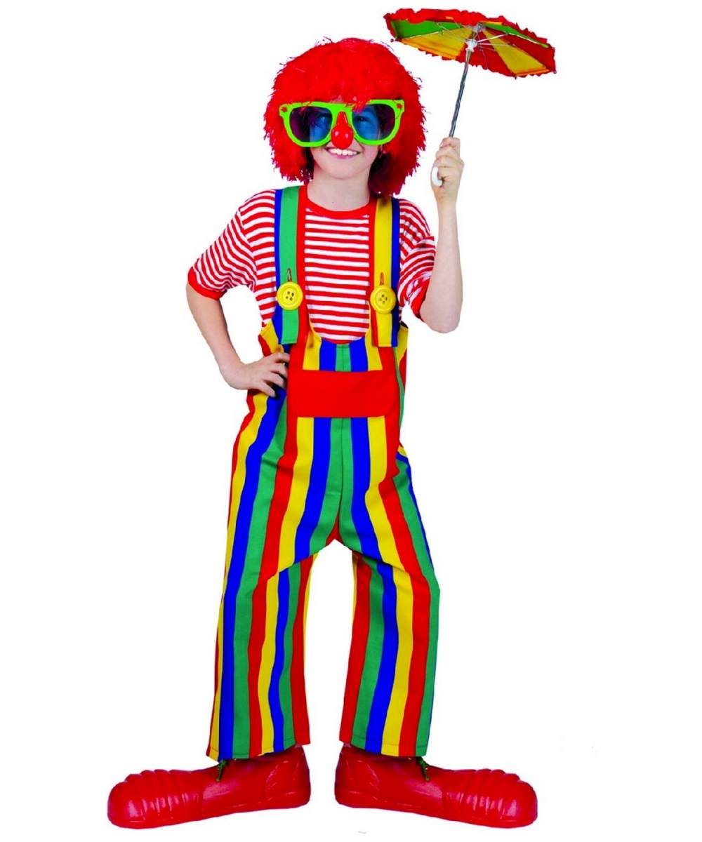 Boys Striped Clown Overalls Costume