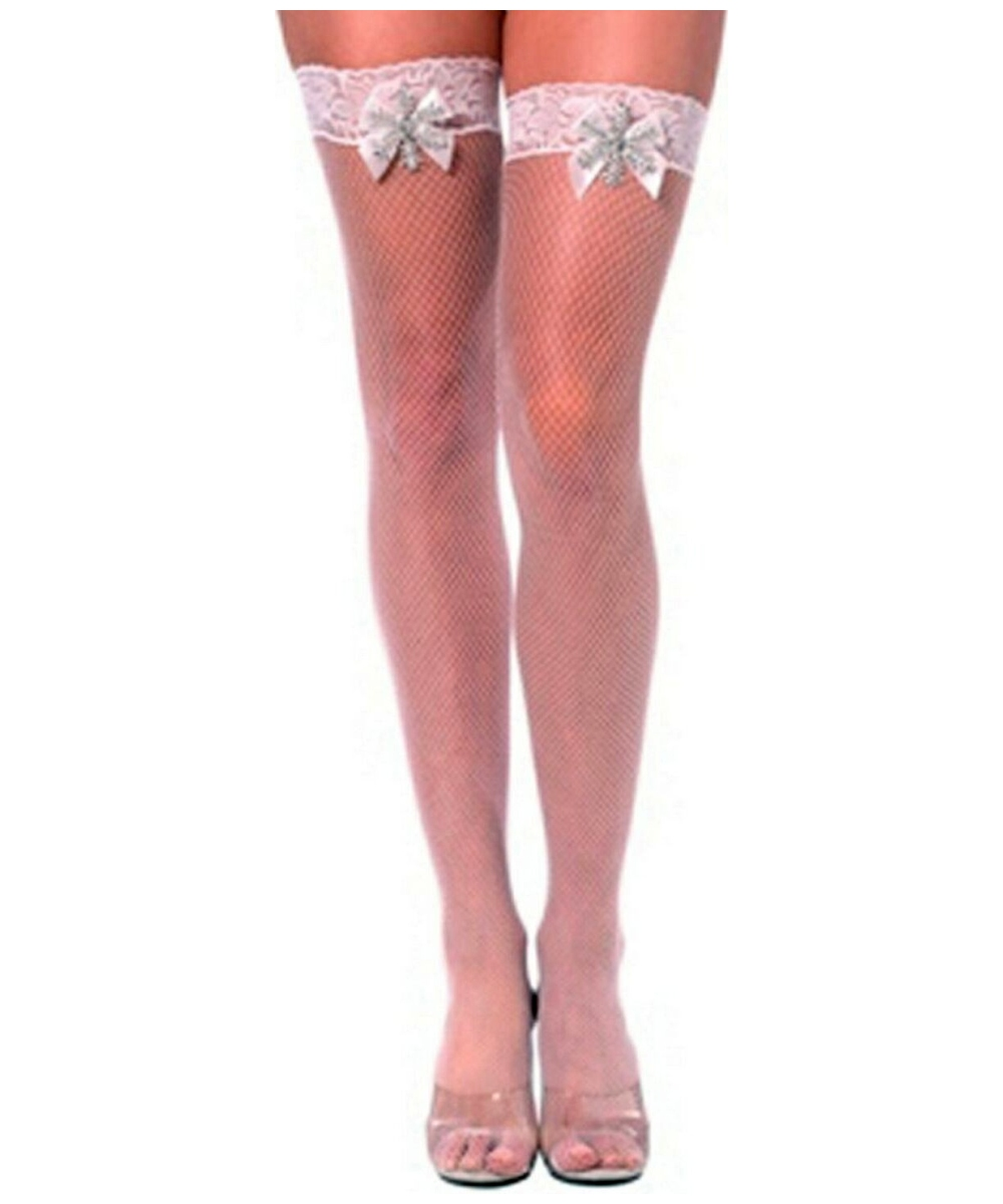 b7bccf880d84a Bijou White Fishnet Thigh High Stockings - Adult Accessory - at ...