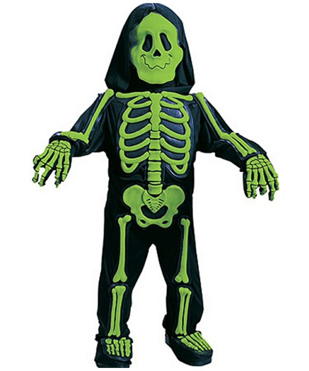 green skelebones kids costume