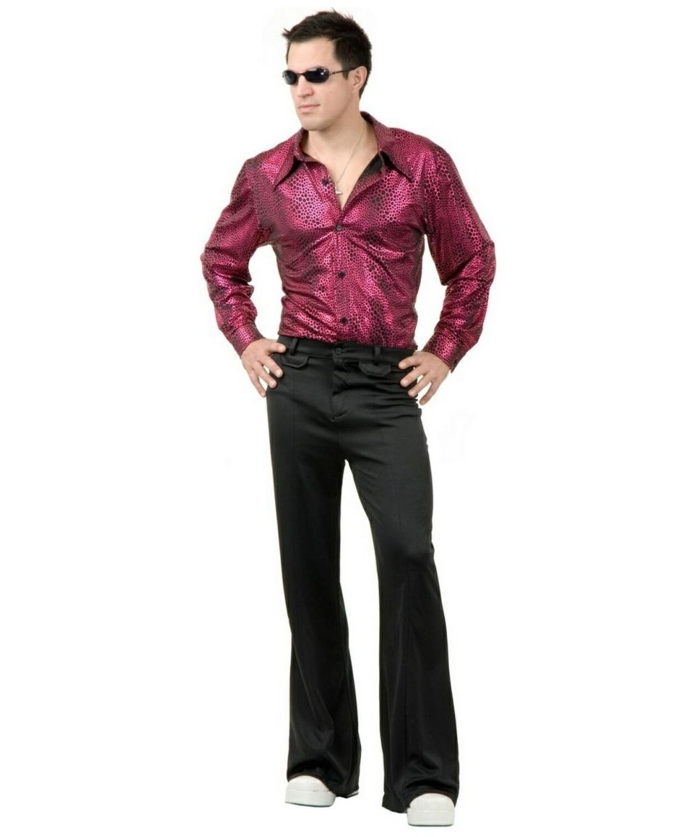sc 1 st  Wonder Costumes & Disco Shirt Liquid Red Black Adult Costume - Men Halloween Costumes