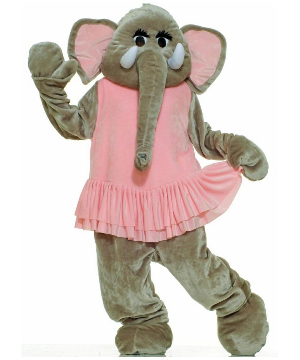 plush elephant mascot costume - adult costume - animal halloween