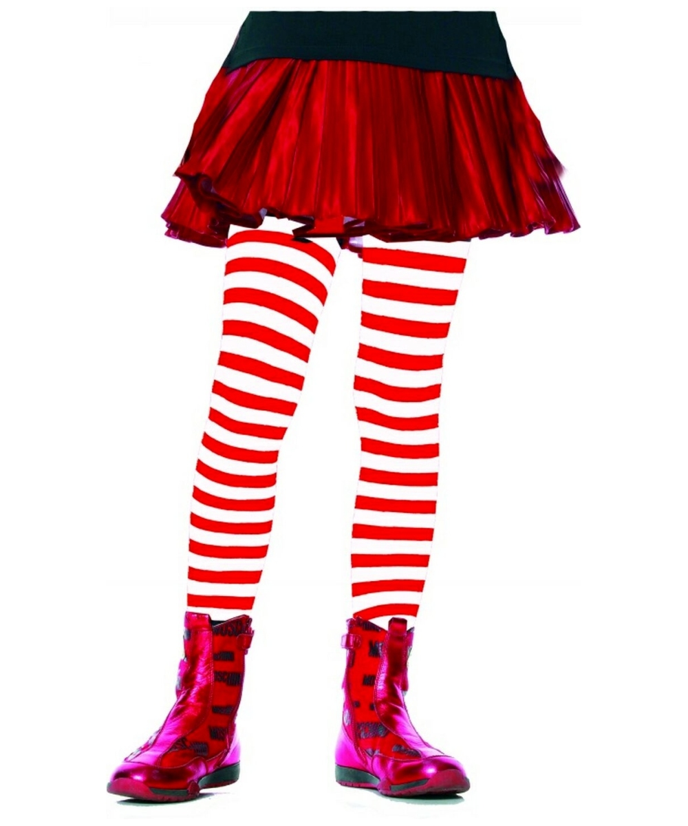 Red White Striped Kids Tights