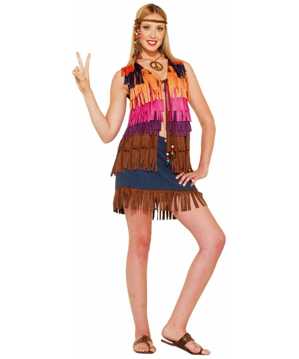 Hippie Fringed Vest Adult Costume Women Hippie Costumes