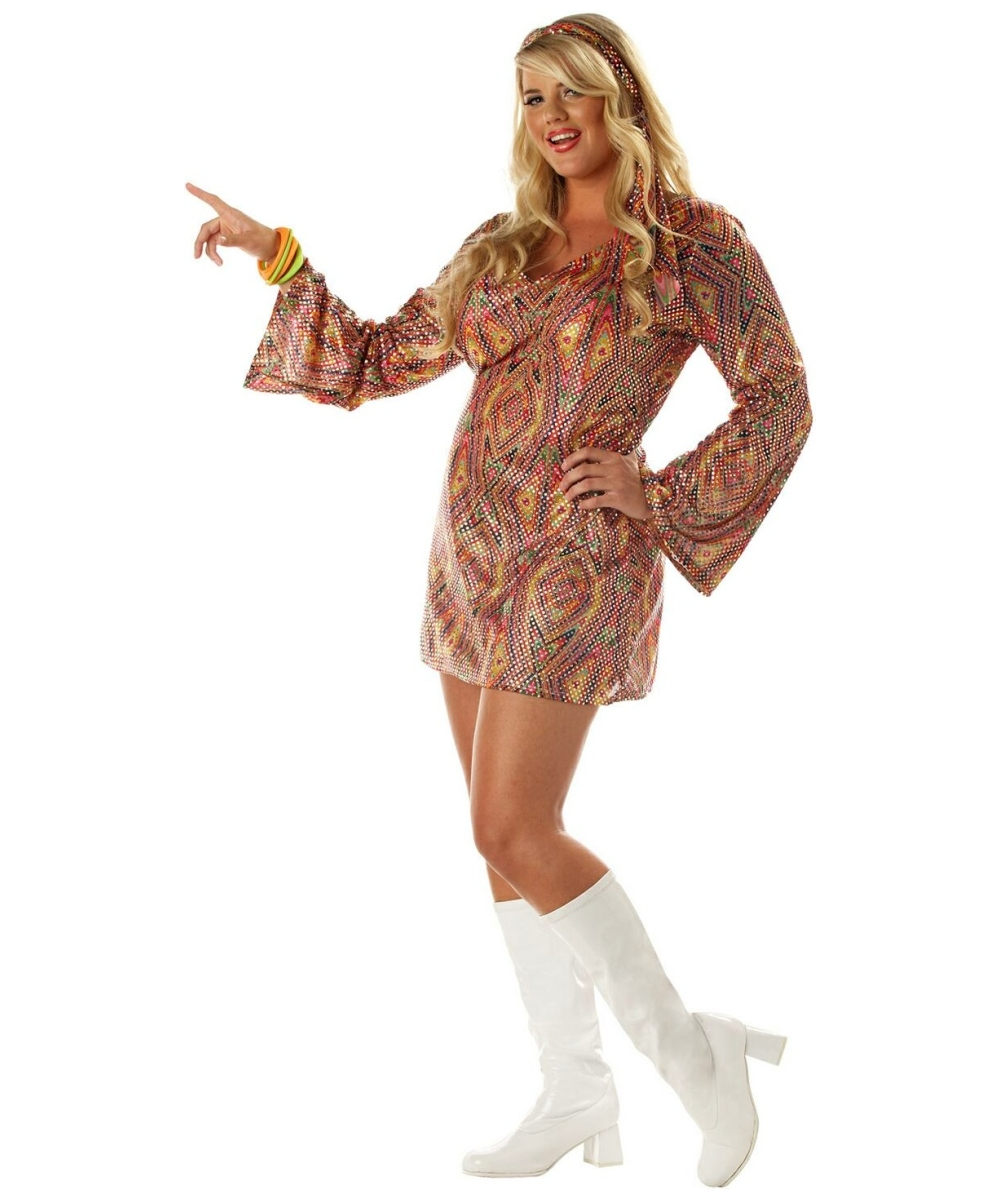 Disco Dolly Adult Plus Size Costume - Women Halloween Costumes