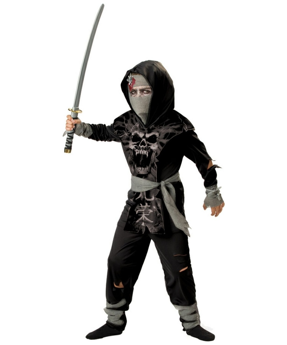 dark zombie ninja boys costume
