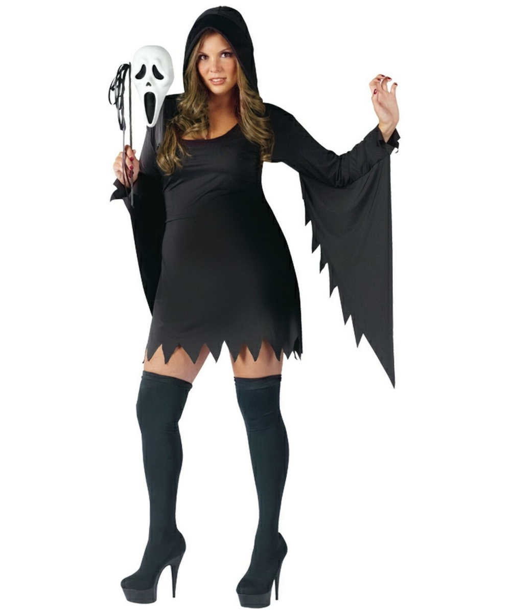 sc 1 st  Wonder Costumes & Ghost Scream Face Adult Costume Plus Size - Women Ghost Costumes