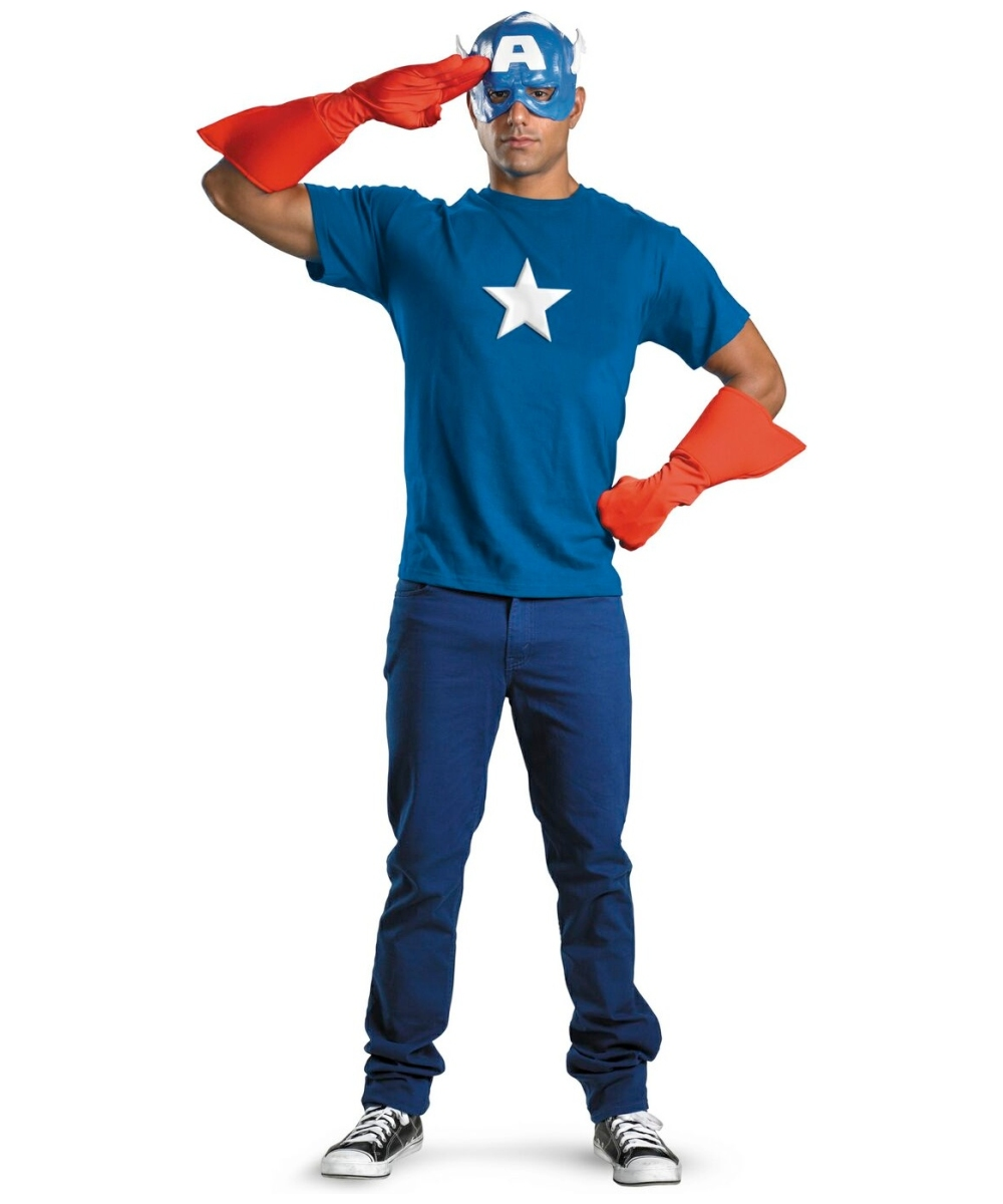 Captain America Kit Men Costume  sc 1 st  Wonder Costumes & Adult Captain America Kit Movie Costume - Men Costumes