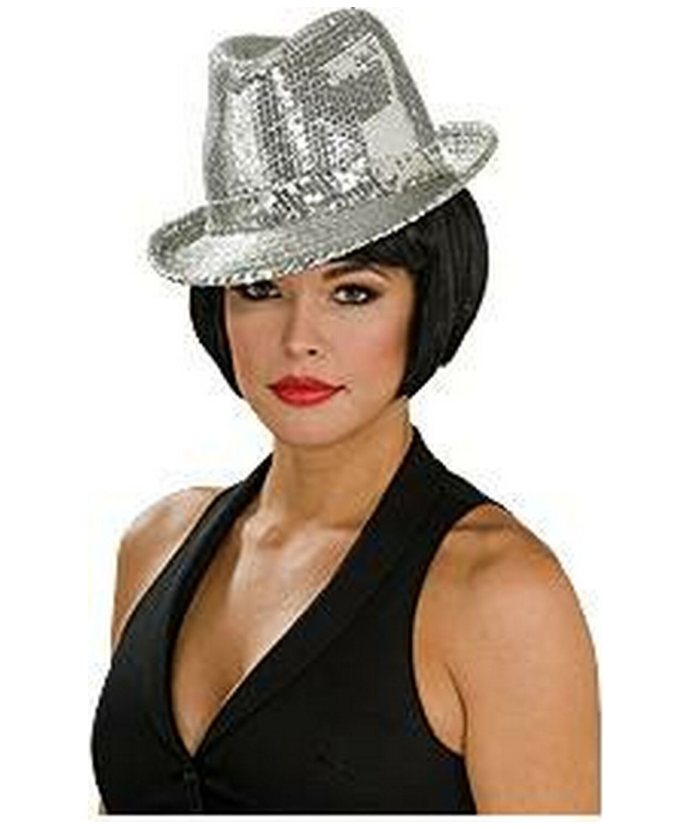 Sequin Fedora Hat Silver - Adult Hat - at Wonder Costumes 174707ccf9b