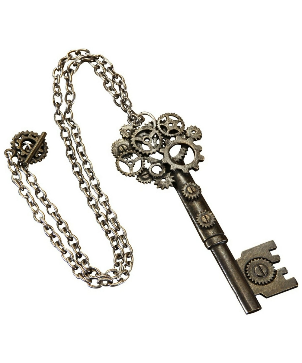 Steampunk Large Key Antique Necklace Costume Jewelry