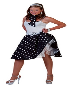 Adult Black Sock Hop Costume Women Sock Hop Costumes