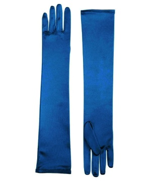 Blue Satin Women's Gloves