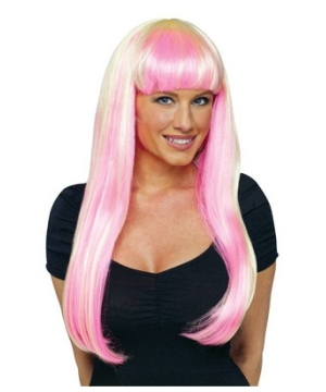 Natural Blonde and Pink Adult Wig