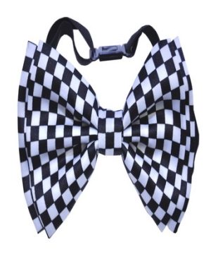 White Black Checkered Bow Tie