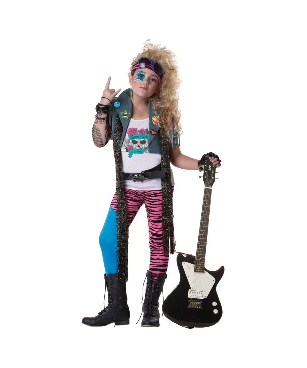 80s Glam Rocker Girl Costume 1980s Kid Costumes