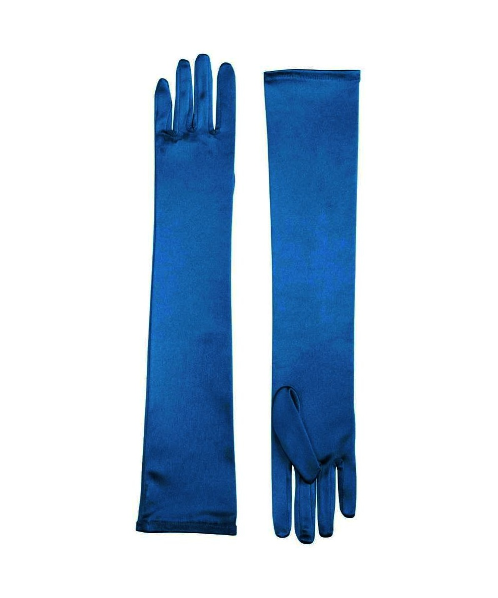 Blue Satin Womens Gloves