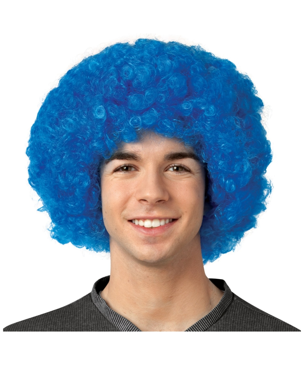 Adult Crayola Blue Afro Wig - Men Halloween Afro Wig 5f620b684e