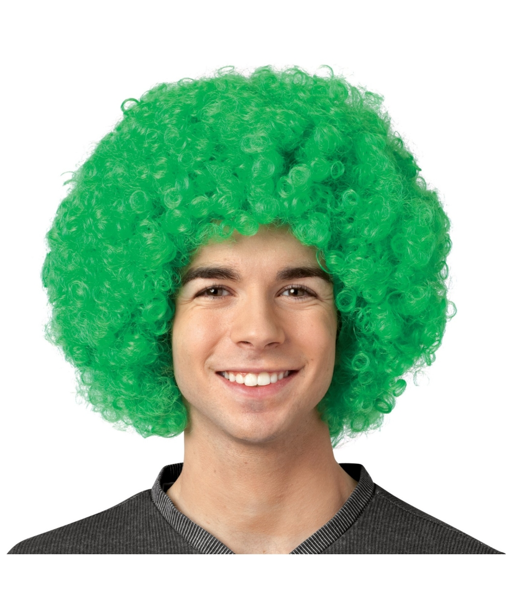 Adult Crayola Green Afro Wig Men Halloween Afro Wig