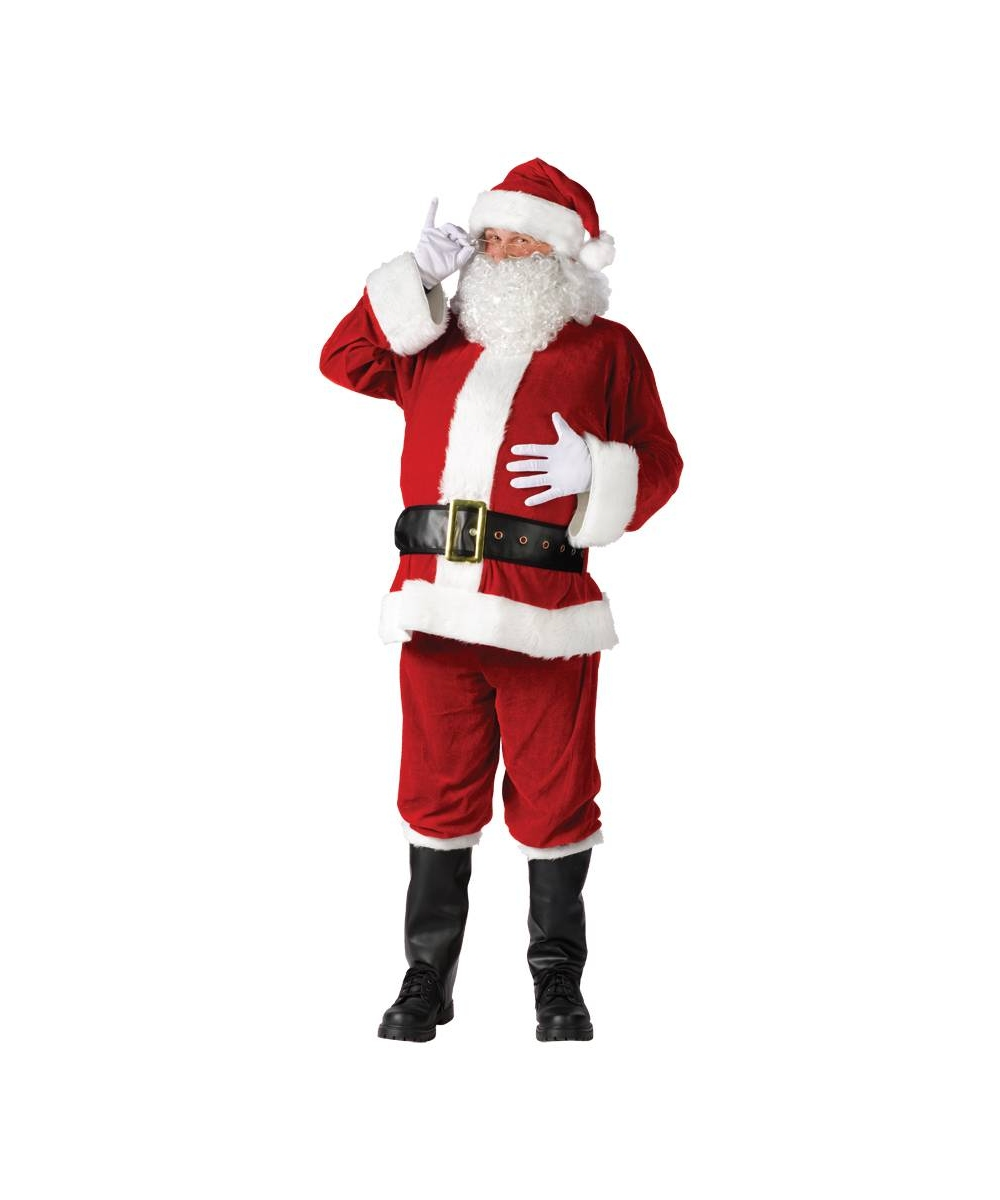 Mens Santa Suit Velour Costume
